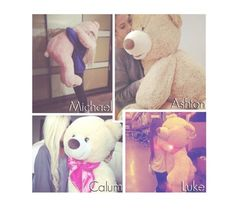 """""""5sos- Teddy Bear."""" by reydel ❤ liked on Polyvore featuring 5sos, 5secondsofsummer and 5sospreference"""