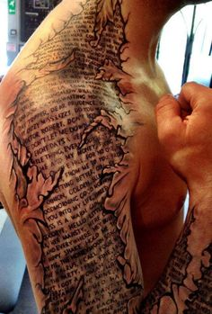 This would be so sick to with my favorite bible verse. Having God's word imprinted on my body. Like if I got cracked open it would be what you would find on the inside.