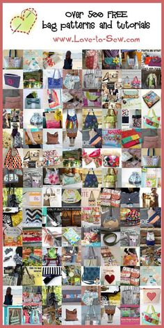 Over 500 FREE bag patterns and tutorials at www.Love-to-Sew.com: