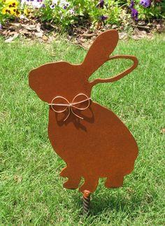 Rabbit Bunny Metal Garden Stake - Metal Yard Art - Metal Garden Art - Rustic - Rusty - Pet Memorial