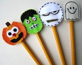 Fall Pencil Topper Set Thanksgiving Halloween by BabyWhatKnots