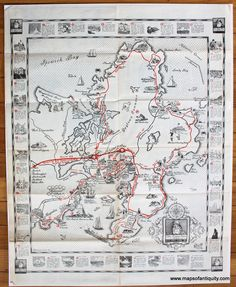 The Cape Ann Trail - Antique Maps and Charts – Original, Vintage, Rare Historical Antique Maps, Charts, Prints, Reproductions of Maps and Charts of Antiquity Chatham Cape Cod, Cape Cod Map, Pictorial Maps, Selling Antiques, Antique Maps, Charts, Trail, Ann, The Originals