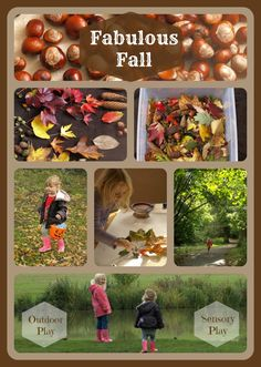 Fabulous fall activities - fall sensory bin, table mat with leaves and contact paper.