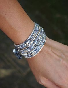 Blue Japan seed beaded mix wrap bracelet with chain Boho