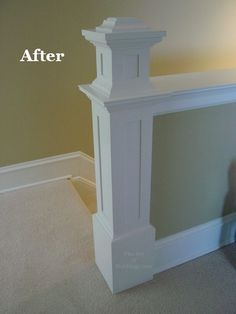 Do you have a half wall on you staircase like this that could use a little dressing up? Newel posts like these are really easy to build and can be made from very inexpensive materials. Balustrades, Banisters, Railings, Banister Rails, Demis Murs, Pony Wall, Basement Stairs, Attic Stairs, Stairs Kitchen