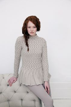 "Ravelry: Wavy Peplum Sweater pattern by Jacqueline van Dillen (in Debbie Bliss ""Creative Cables"")"