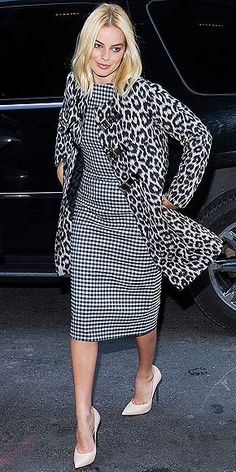 Black and white leopard print coat + black and white patterned dress + white pointed heels