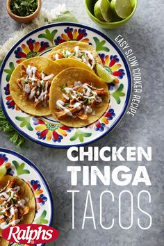 Slow Cooker Chicken Tinga Tacos - Food 4 Less Slow Cooker Recipes, Crockpot Recipes, Chicken Recipes, Cooking Recipes, Healthy Recipes, Slow Cooking, Cooking Torch, Healthy Food, Real Cooking