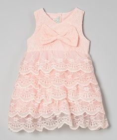 This Pink Tiered Lace Bow A-Line Dress - Toddler & Girls by Richie House is perfect! #zulilyfinds