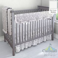 Crib bedding in Gray Filigree, Solid Antique White. Created using the Nursery Designer® by Carousel Designs where you mix and match from hundreds of fabrics to create your own unique baby bedding. #carouseldesigns