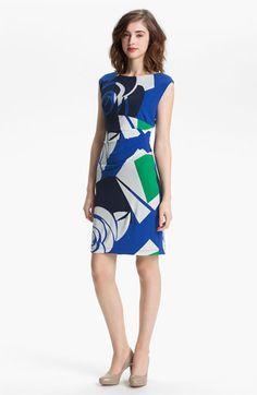 Donna Morgan Gathered Print Sheath Dress | Nordstrom