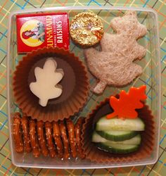 Fall themed lunch, Leaf shaped sandwich, cheese slices, cucumbers, pretzels and raisins! <3 it
