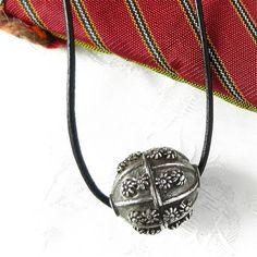 Antique Yemen Silver Globe Bead with Floret Motif Dated circa 1940 | craftsofthepast - Jewelry on ArtFire