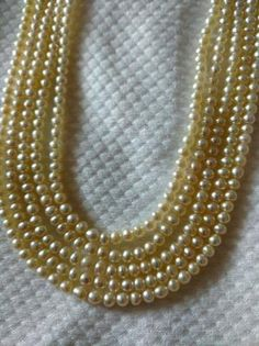 Genuine Natural Basra Pearls Drilled: Type of pearl: Natural Basra Pearls Carat Weight: ct Chaw: Number of pearls: 682 Shape: Round & Off Round Size: Real Pearl Necklace, Pearl Jewelry, Royal Jewelry, Jewellery, Real Pearls, Light Cream, Golden Color, 1 Carat, Selling Jewelry