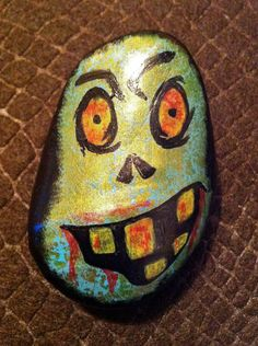 Hand painted rock zombie by CasualZen on Etsy