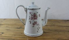French antique enamel coffee pot, floral enamel cafetiere. white enamelware with dusky pink flowers and worn gold trim. French Vintage by RoziereBroc on Etsy https://www.etsy.com/listing/243529974/french-antique-enamel-coffee-pot-floral