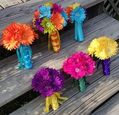 Daisy Bouquet Turquoise Daisy Bouquet Yellow by SilkFlowersByJean, $25.00