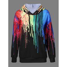 Paint Drip Drawstring Hoodie, BLACK, XL in Sweatshirts & Hoodies | DressLily.com