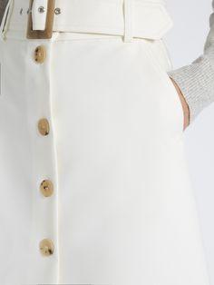Click here to buy Bella Freud Fonda button-through cotton-blend cady midi skirt at MATCHESFASHION.COM