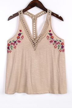 Floral Embroidery V-Neck Tank Top