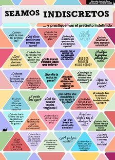 Juego/tablero para practicar el pretérito indefinido. Seamos indiscretos y practiquemos el pretérito indefinido. https://lenguajeyotrasluces.wordpress.com/: