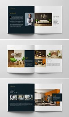 **Minimal Multipurpose Catalogs / Brochure / Portfolio Template** Just drop in your own pictures and texts, and it's ready for print. Portfolio Design Layouts, Booklet Design Layout, Catalogue Design Templates, Catalogue Layout, Page Layout Design, Graphic Design Brochure, Brochure Design Inspiration, Brochure Layout, Catalog Design