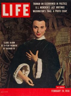 "Life Magazine cover, ""Claire Bloom in TV-Film Premiere of 'Richard III'"", February 20, 1956"