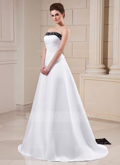 A-Line/Princess Strapless Court Train Satin Wedding Dress With Sash Beading (002000068) (black can be red)