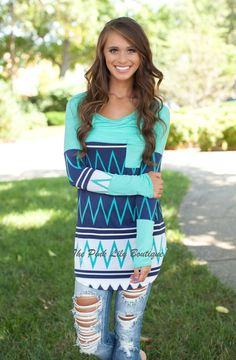 Time To Shine Aztec Tunic Mint!