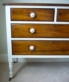 White And Pine Wood Dresserpainted