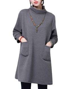 Vintage Solid Round Neck Long Sleeve Thick Loose Dress at Banggood