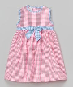Look at this #zulilyfind! Pink Gingham Seersucker Dress - Infant, Toddler & Girls by SIMI #zulilyfinds