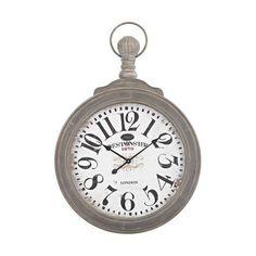 Sterling Industries Haymarket Wall Clock In Preda Aged Grey