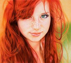 "This portrait of a stunning redhead was done by Samuel Silva, a lawyer and self-taught artist from Portugal. Silva used 6 colored Bic ballpoint pens to make this 8"" x 9"" drawing. By crosshatching the strokes of just the 6 different colors in layers, Silva was able to create the illusion of blending, as well as the illusion of subtle shades of new colors on paper."