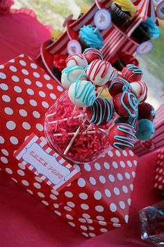 red and blue circus carnival birthday party cake pops