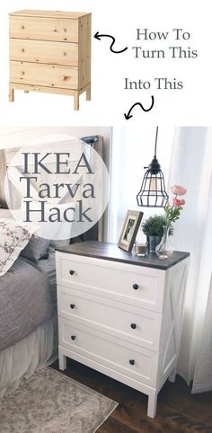 Ikea Tarva Hack - Farmhouse Side Table Dresser - Ikea DIY - The best IKEA hacks all in one place Ikea Tarva Dresser, Dresser As Nightstand, Dresser Furniture, Dresser Ideas, Ikea Bedroom Furniture, Apartment Furniture, Paint A Dresser, Dresser Top Decor, Dresser Designs