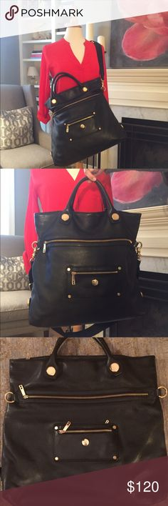 Knomo London work/laptop bag Sophisticated, spacious, and smart work bag.  Black pebble leather with gold hardware and good pockets to keep you organized!  Can be crossbody (removable strap) or handle. Knomo London Bags Laptop Bags