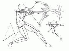 I've drawn two archer figures below using the wire frame and body shapes to help me visualize the positions for the torso. Arms, and legs.