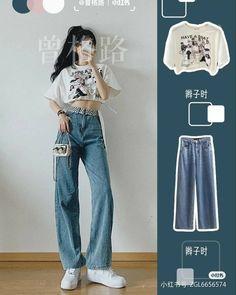 Korean Girl Fashion, Ulzzang Fashion, Korean Street Fashion, Kpop Fashion Outfits, Girls Fashion Clothes, Cute Fashion, Look Fashion, Korean Casual Outfits, Korean Outfit Street Styles