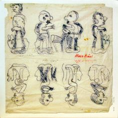 HANS KRUSI (1920-1995) | He made his first drawings using a felt-tipped pen on napkins, but later resorted to sheets of paper. He also took up painting,  using paper, pieces of cardboard and wood panels as supports. Further still, he created a number of tridimensional pieces. Bad Art, Art Brut, Naive Art, Love Drawings, Outsider Art, Wood Paneling, Great Artists, Collages, Switzerland