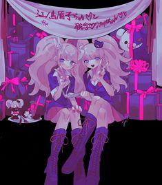 Cute Characters, Cute Anime Character, Anime Characters, Danganronpa Junko, Ibuki Mioda, Danganronpa Trigger Happy Havoc, Ouma Kokichi, Fanart, Neon Aesthetic