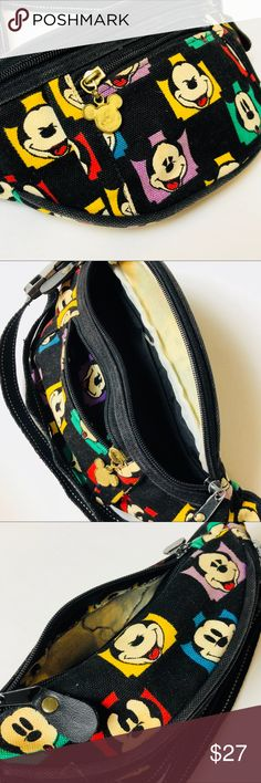 Vtg Walt Disney Mickey Mouse Fannypack Fabulous Vintage MICKEY MOUSE FANNYPACK by Disney World This is a canvas material with an adjustable strap Vintage Bags