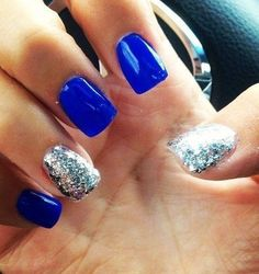Electric blue (Nails Inc. Baker Street) and silver nails Fancy Nails, Pretty Nails, Sparkle Nails, Gold Sparkle, Hair And Nails, My Nails, Diva Nails, Blue And Silver Nails, Silver Glitter