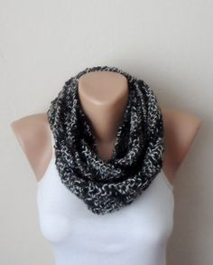 brown black white knit infinity scarf multicolor mealy circle