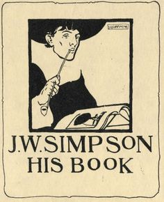 Bookplate by Joseph William Simpson for Himself, 1898