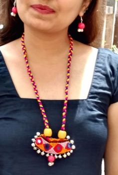 Handmade Soft Kutch Work Necklace With Multicolored Fabric Pendant