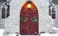 John's Chapel (at HWS) doors present a wintry scene on a snowy day. Hobart And William Smith, Student Centered Learning, Smith College, Snowy Day, Winter Is Coming, Winter Wonderland, Presents, Scene, Colleges