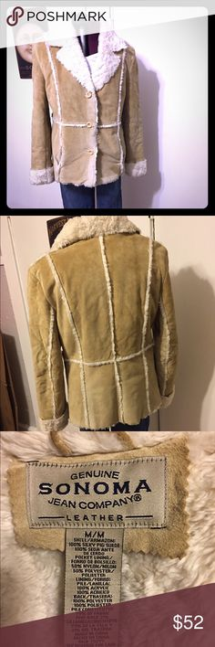 Sonoma sheep skin coat Sonoma sheep skin coat.......I am having a buy one get one free sale tonight.  purchase the more expensive item and like your free item, ( something of equal or lesser price) also tell me and I will delete it and throw it in your box. Merry Christmas everybody!!! Sonoma Jackets & Coats