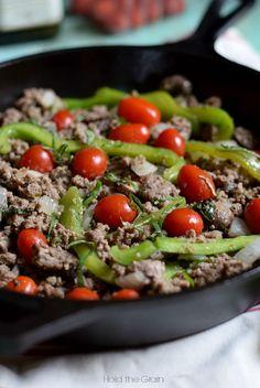 Tomato, basil, veggies beef stir fry