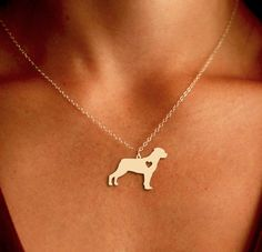 Rottweiler Pendant Necklace - Gold or Silver